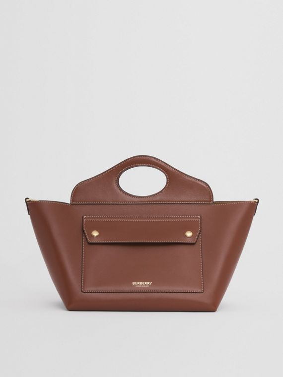 Small Leather Soft Pocket Tote (Tan)