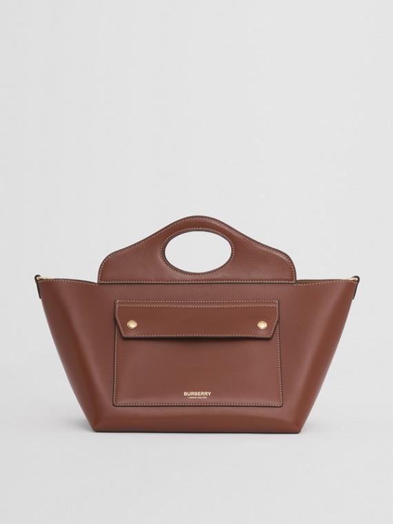 Bolsa tote Pocket em couro liso - Pequena (Canela)