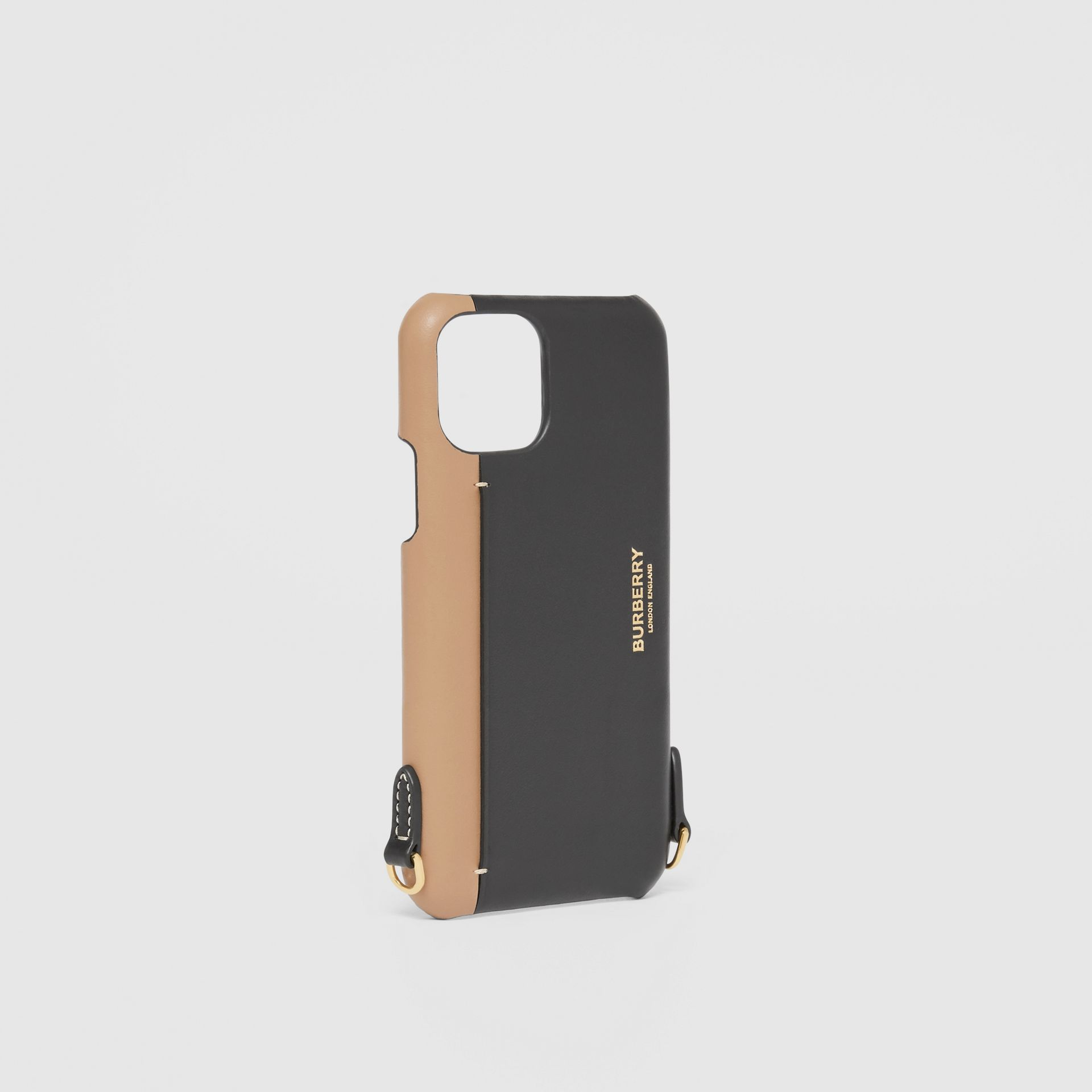 Two-tone Leather iPhone 11 Pro Case Lanyard in Black/camel | Burberry Canada - gallery image 3