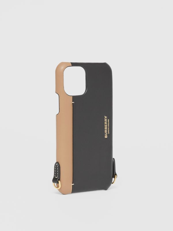 Two-tone Leather iPhone 11 Pro Case Lanyard in Black/camel | Burberry - cell image 3