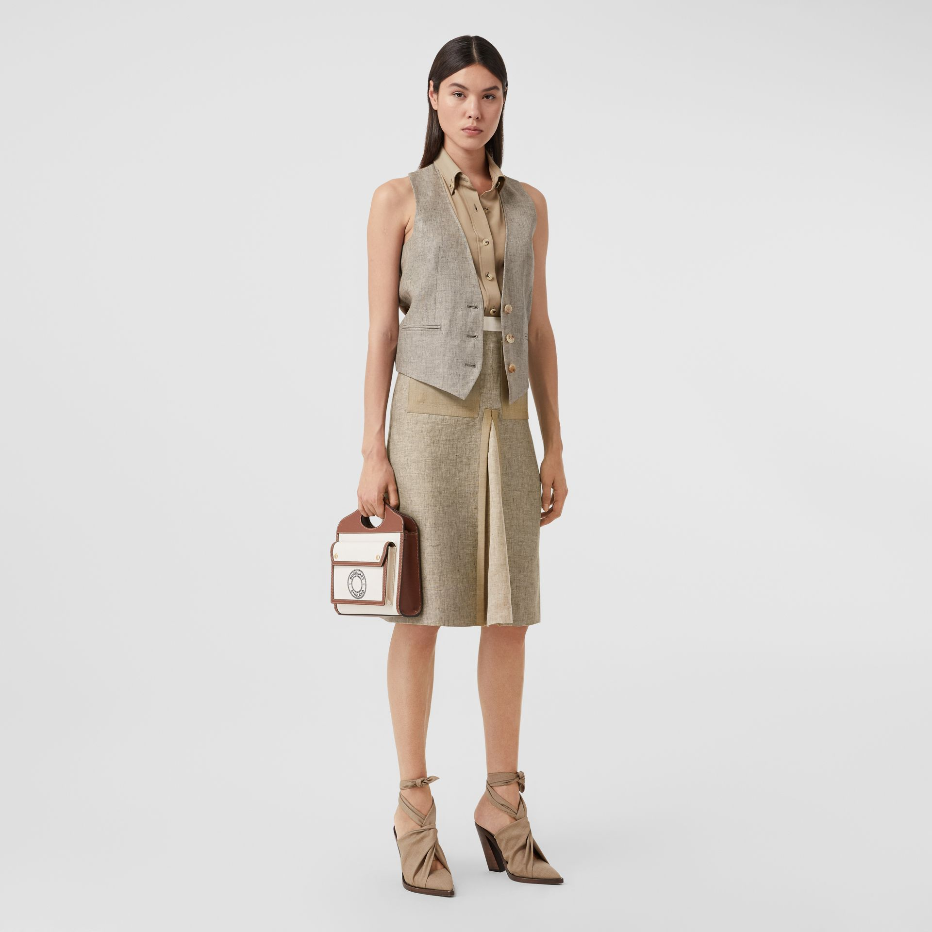 Contrast Seam and Box-pleat Detail Linen A-line Skirt in Cedar Brown Melange - Women | Burberry - gallery image 0
