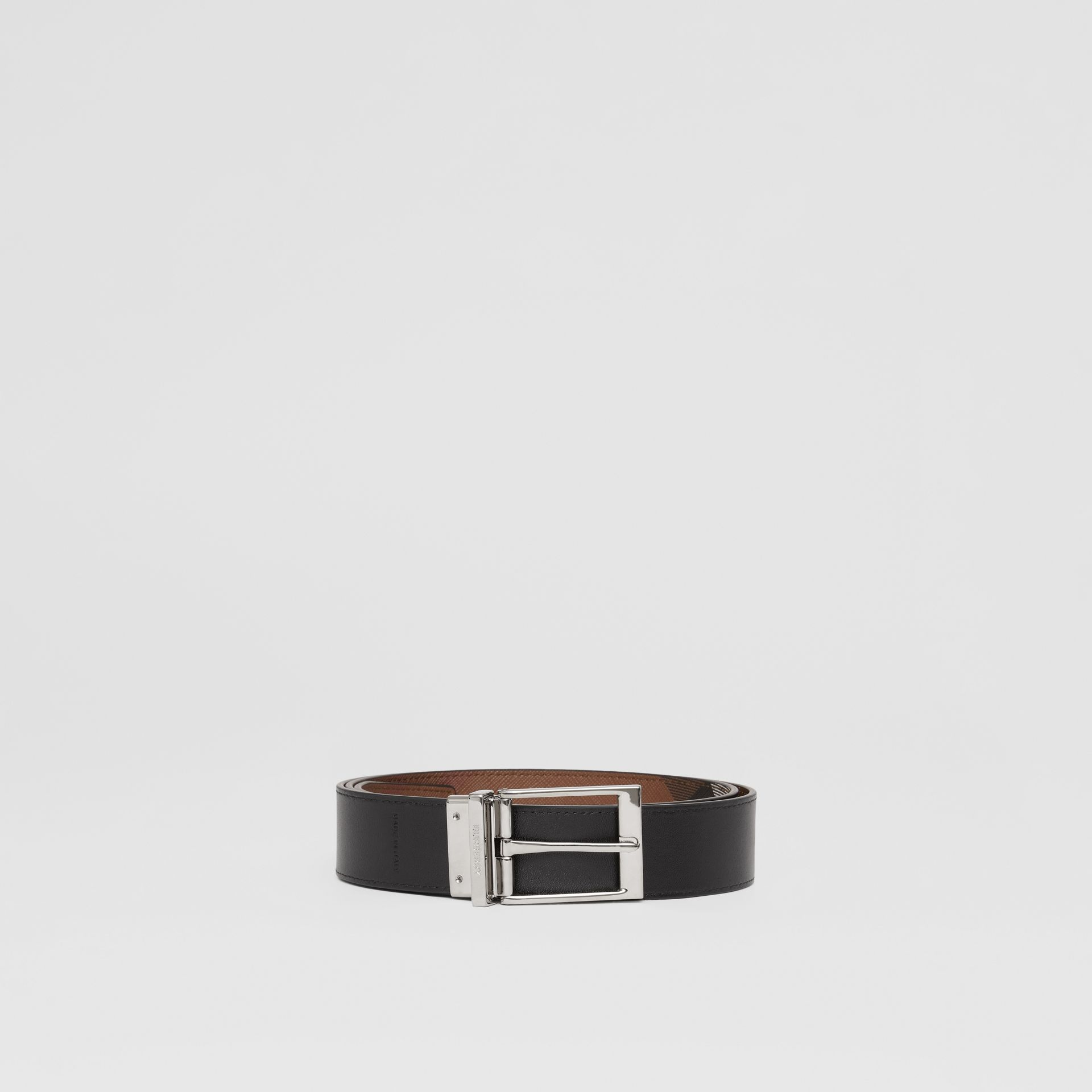 Reversible Check E-canvas and Leather Belt in Dark Birch Brown/black - Men | Burberry - gallery image 6