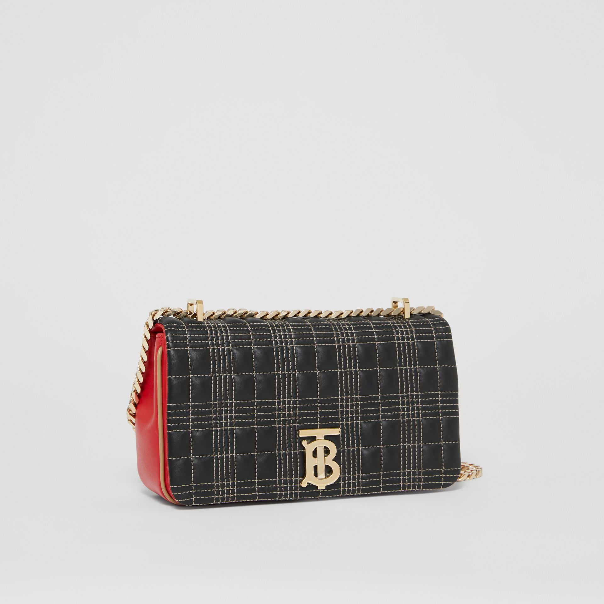 Small Quilted Tri-tone Lambskin Lola Bag in Black/bright Red - Women | Burberry - gallery image 6