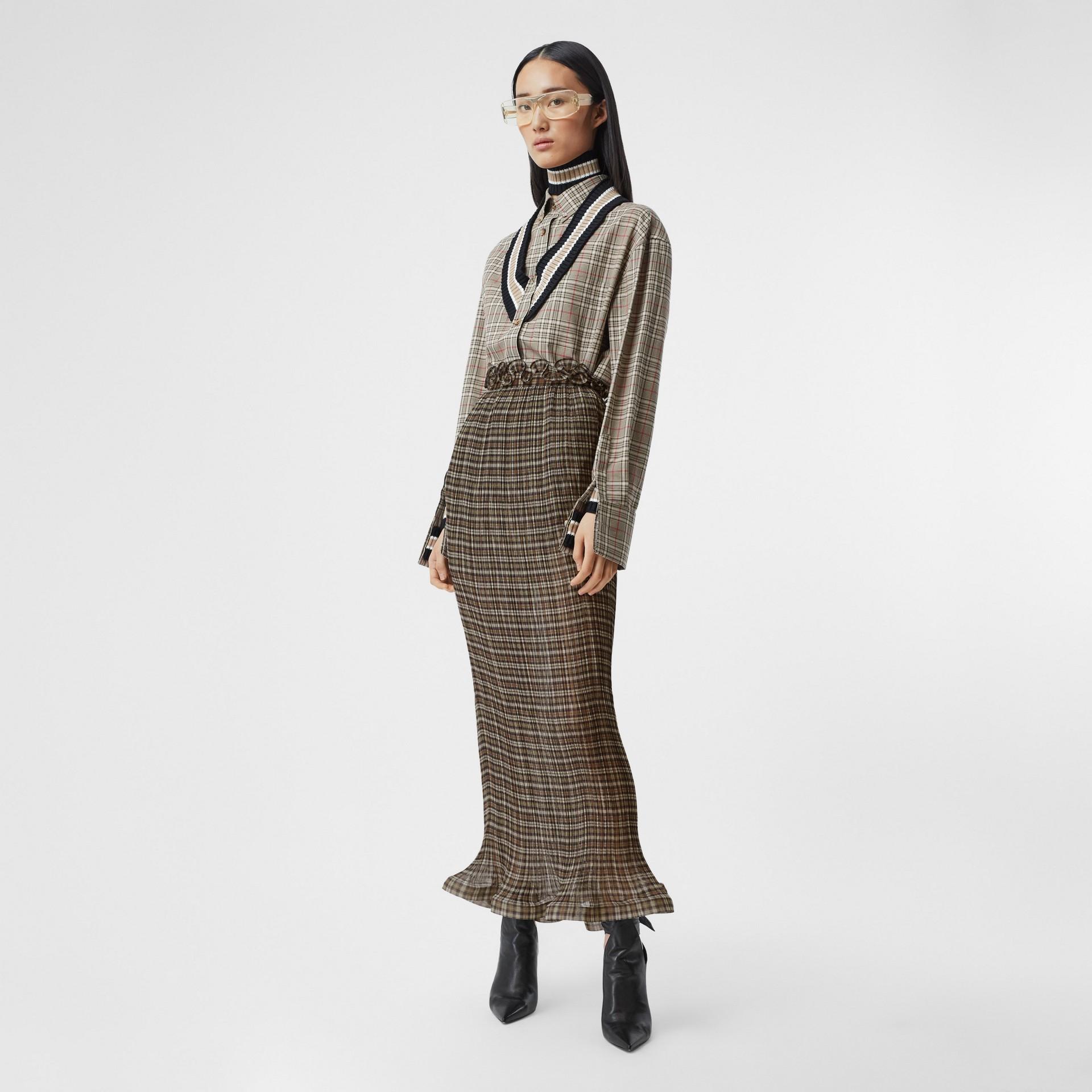 Custom Fit Ruffle Detail Check Chiffon Plissé Skirt in Mahogany - Women | Burberry - gallery image 0