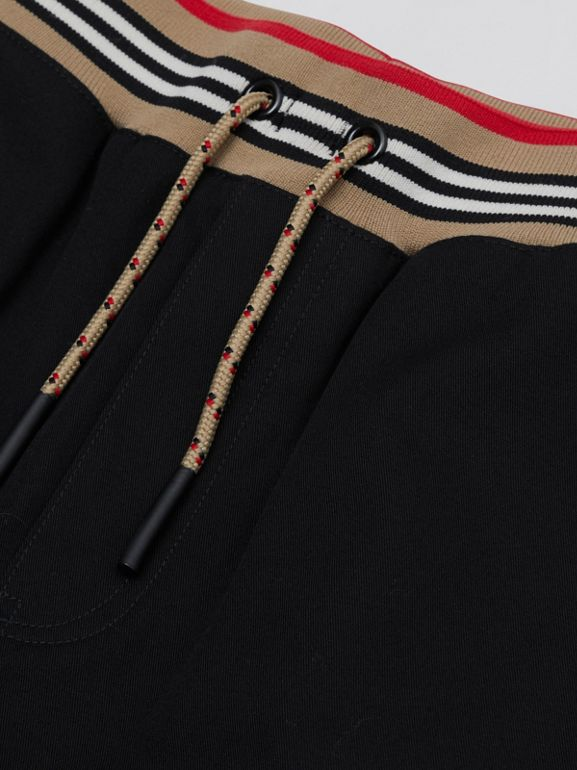 Icon Stripe Detail Cotton Twill Drawcord Trousers | Burberry United Kingdom - cell image 1