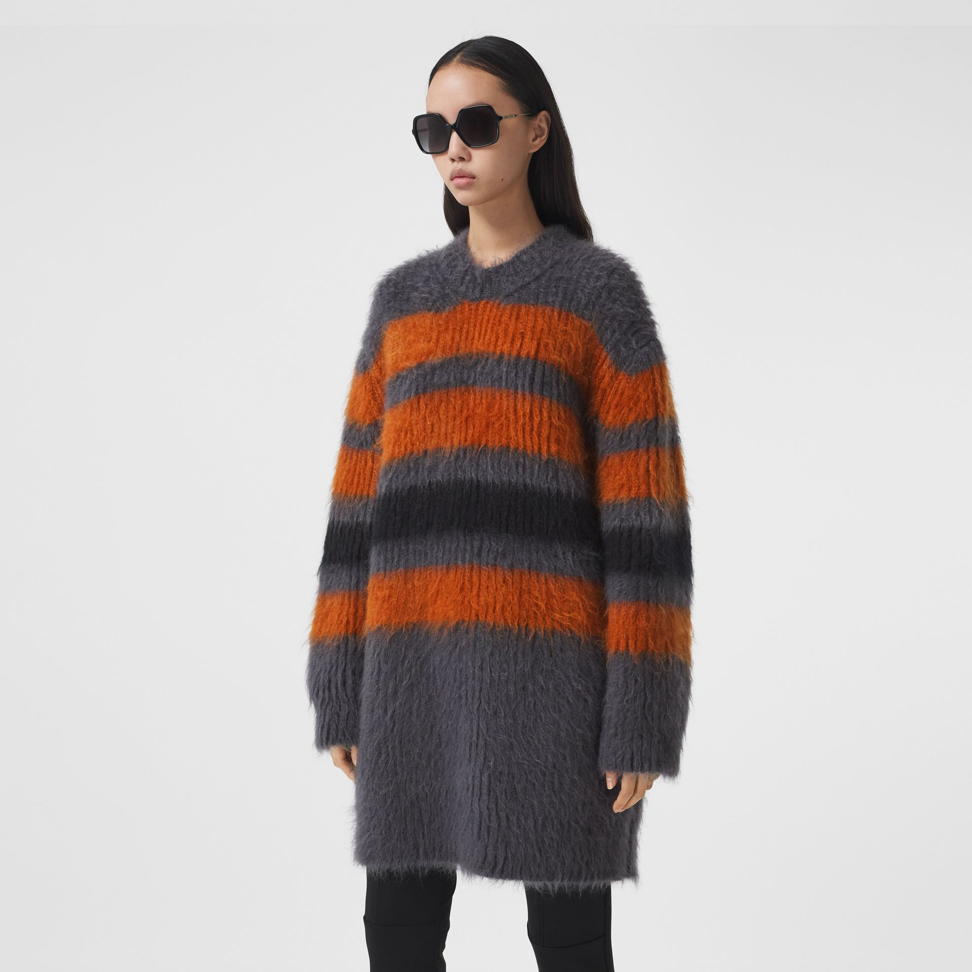 Stripe Intarsia Mohair Silk Oversized Sweater in Dark Grey Melange - Women | Burberry - gallery image 6