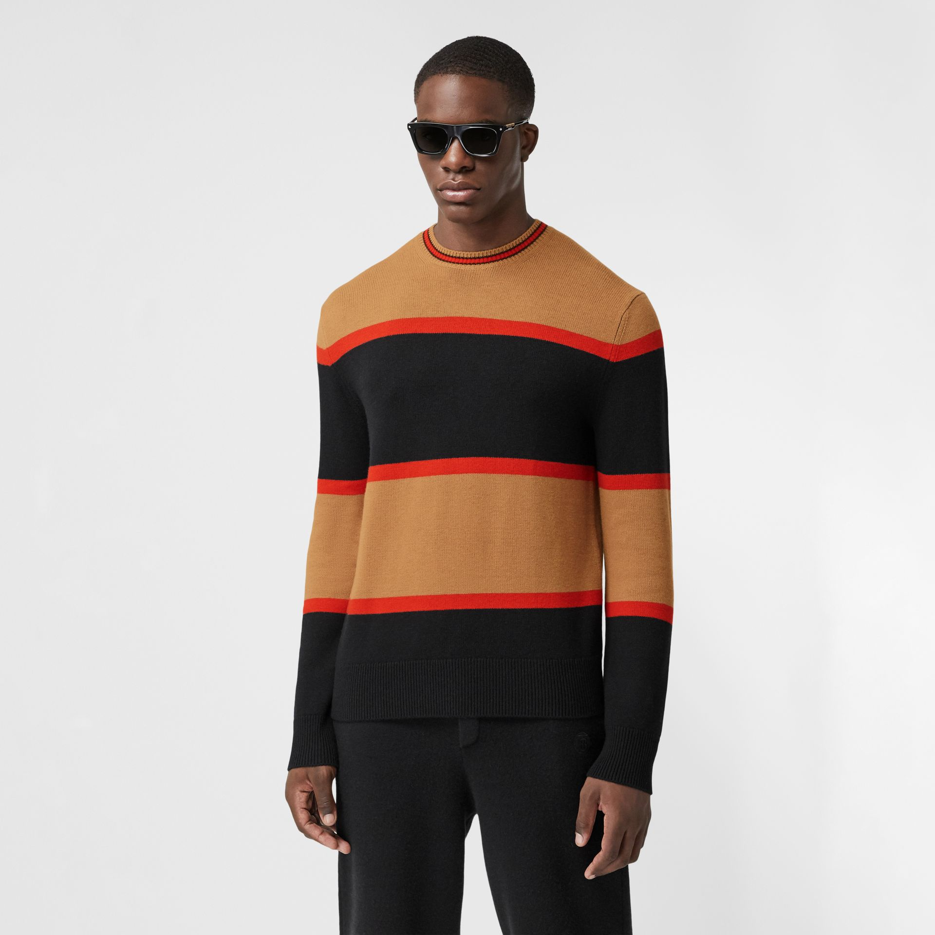 Striped Wool Cashmere Sweater in Black - Men | Burberry - gallery image 0