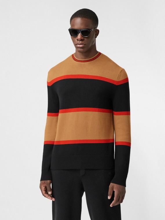 Pullover aus Wolle und Kaschmir mit Streifenmuster (Schwarz)
