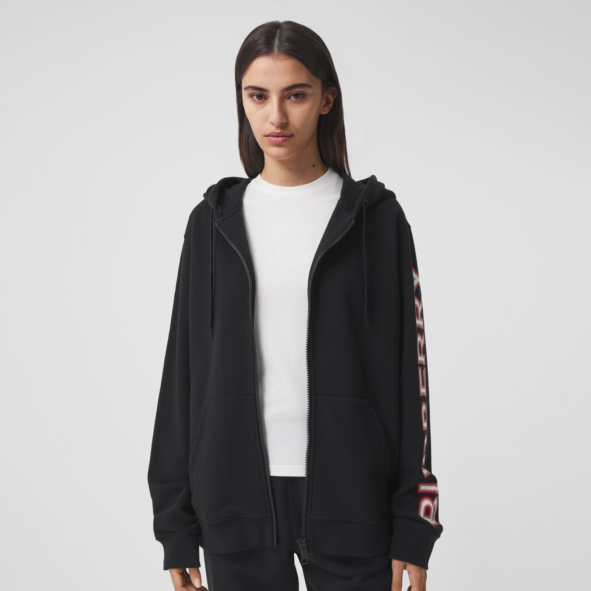 Logo Print Cotton Oversized Hooded Top in Black - Women | Burberry - gallery image 3