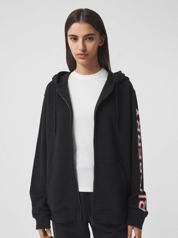Logo Print Cotton Oversized Hooded Top in Black