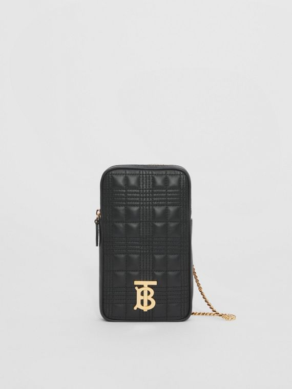Quilted Lambskin Lola Pouch with Chain Strap in Black