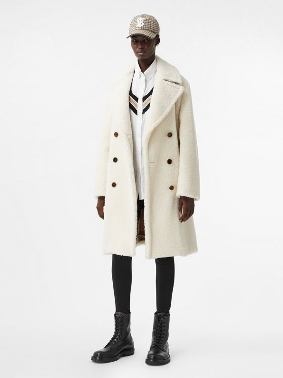 Technical Wool Fleece Double-breasted Coat in Ivory