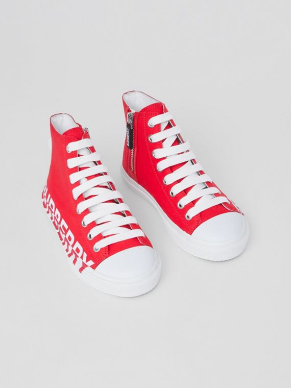Logo Print Cotton Gabardine High-top Sneakers in Bright Red