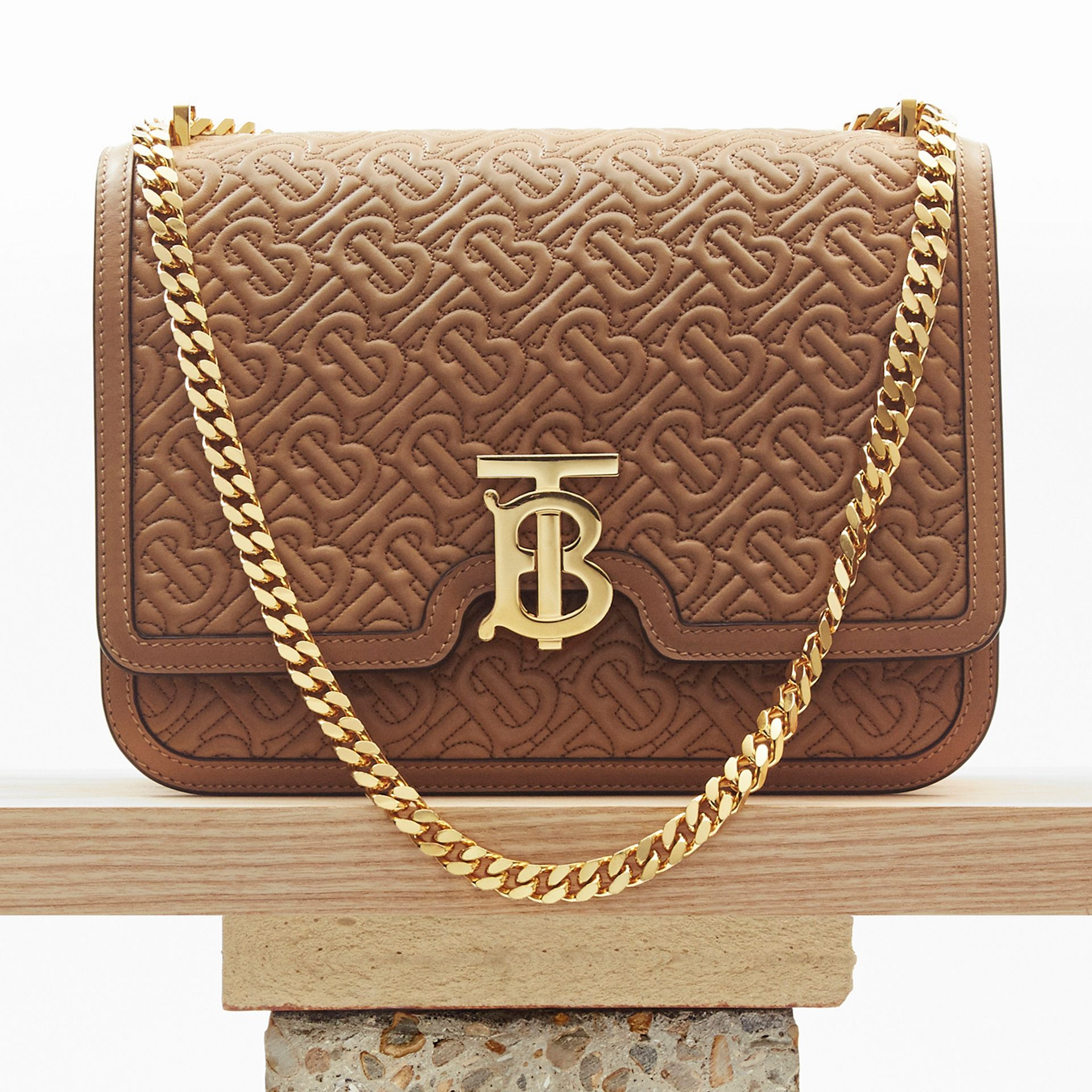 Medium Quilted Monogram Lambskin TB Bag in Honey - Women | Burberry - gallery image 8