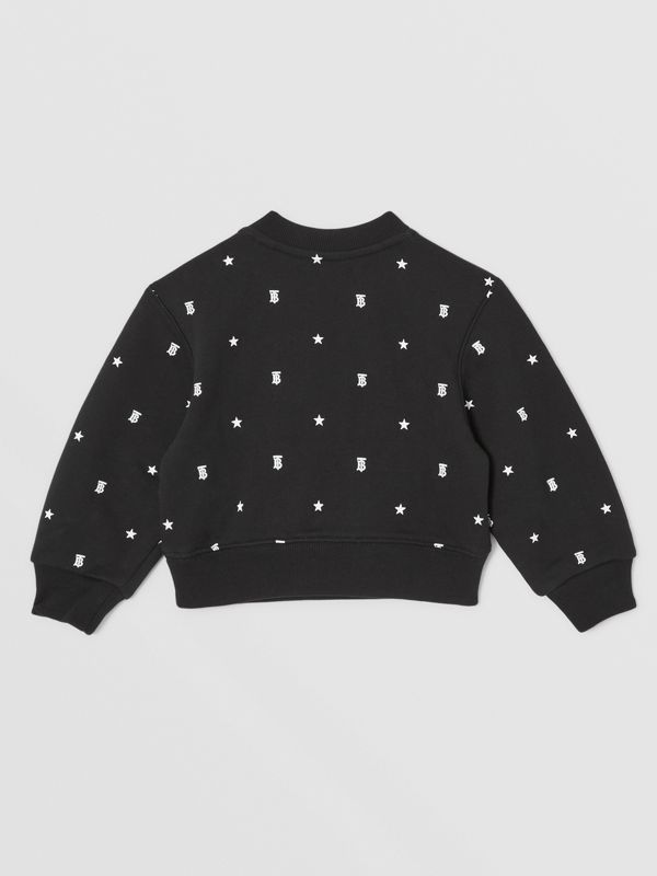 Star and Monogram Motif Cotton Sweatshirt in Black - Children | Burberry - cell image 3