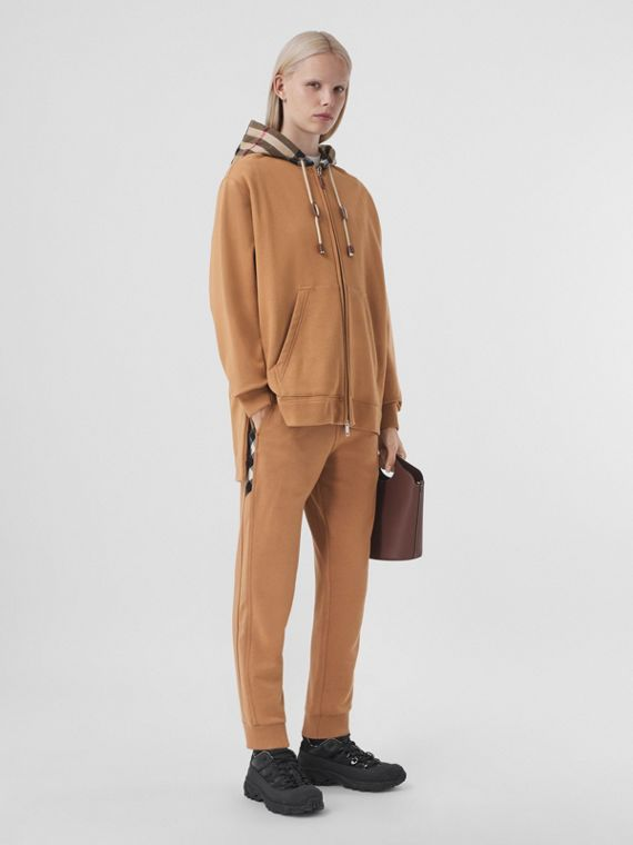 Pantaloni da jogging in cotone con inserti con motivo tartan (Cammello)