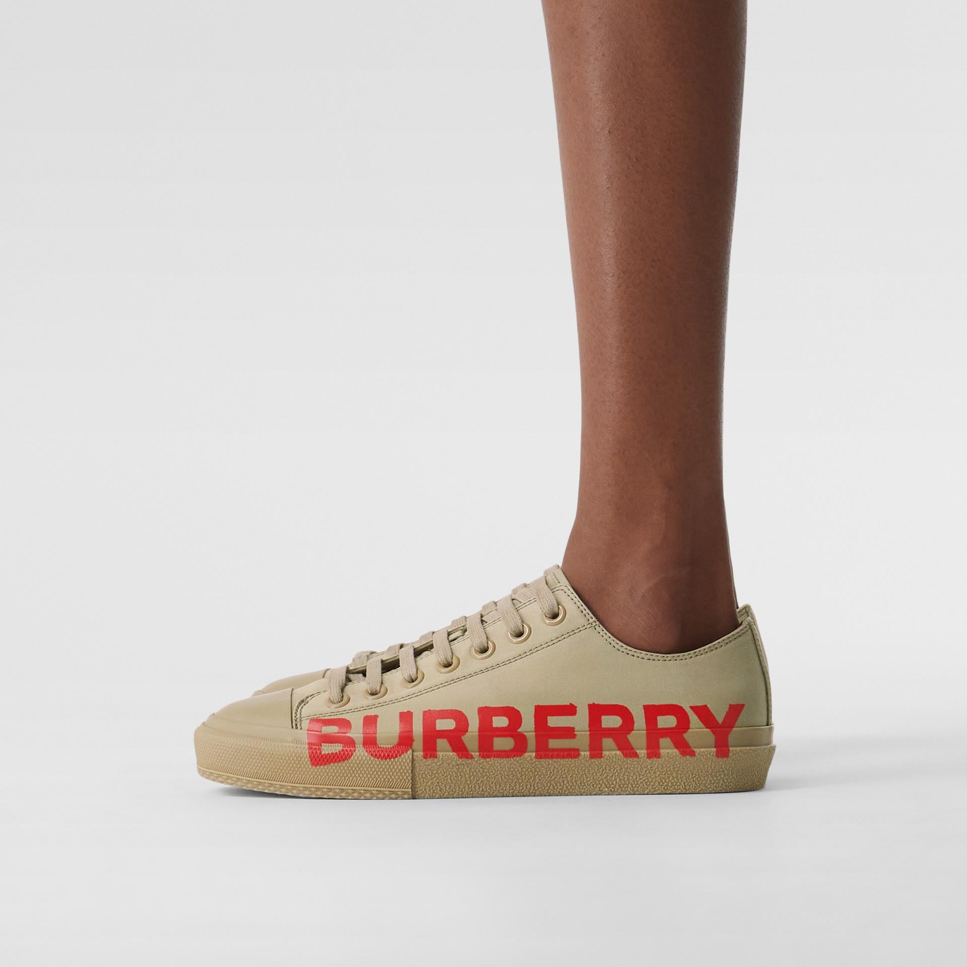 Logo Print Cotton Gabardine Sneakers in Dark Honey - Women | Burberry - gallery image 2