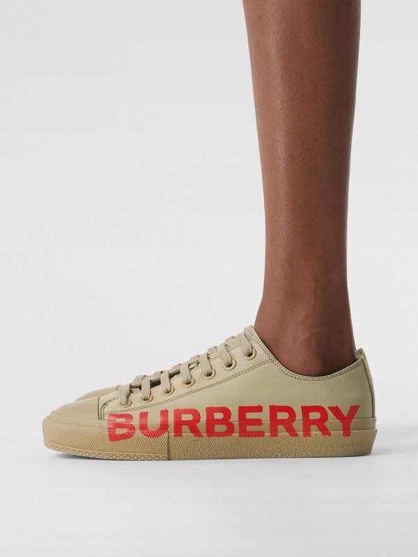 Logo Print Cotton Gabardine Sneakers in Dark Honey - Women | Burberry - cell image 2