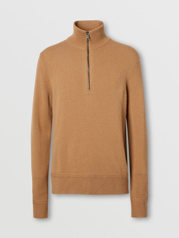 Monogram Motif Cashmere Funnel Neck Sweater in Camel - Men | Burberry - cell image 3