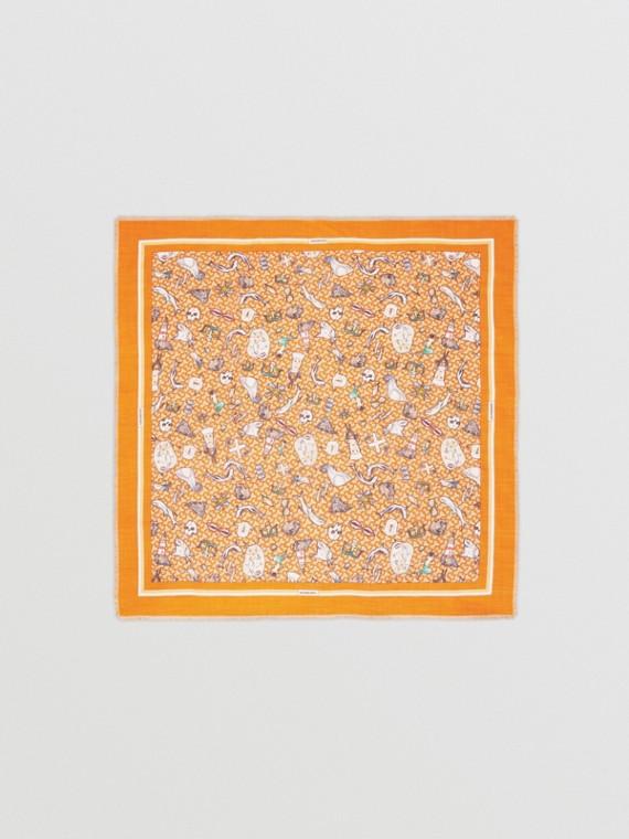 Montage Print Silk Wool Large Square Scarf in Deep Orange
