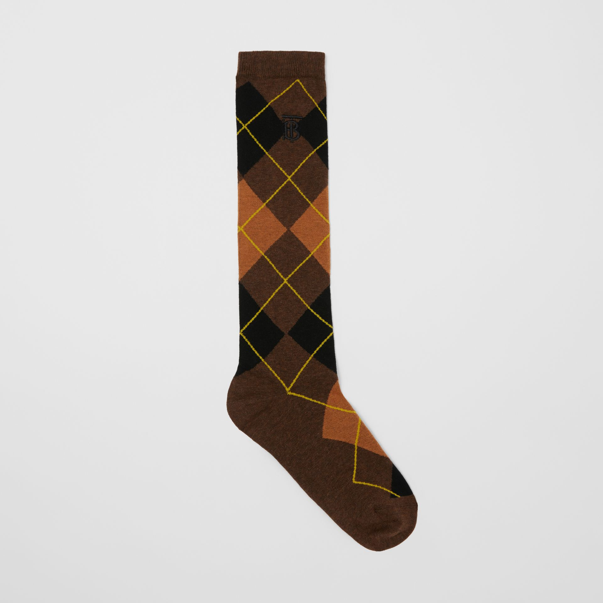 Argyle Intarsia Cotton Blend Calf-length Socks in Brown | Burberry - gallery image 0