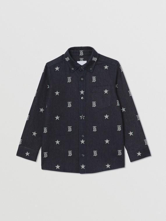 Denimhemd mit Jacquard-gewebten Sternen- und Monogrammmotiven (Indigo)