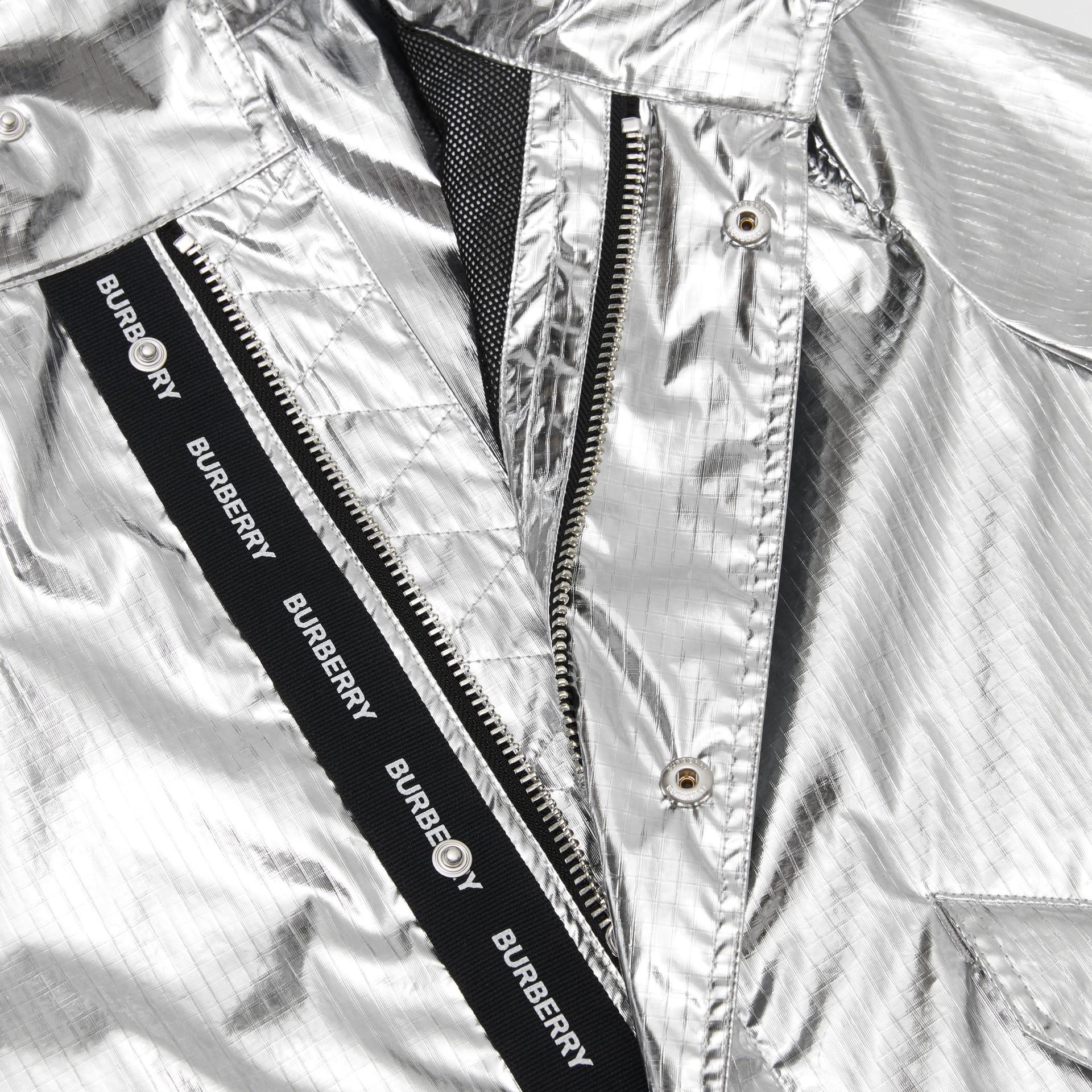Detachable Hood Metallic Nylon Parka in Silver | Burberry - gallery image 6