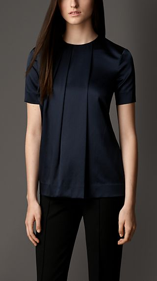 Pleat Front Stretch Silk Top