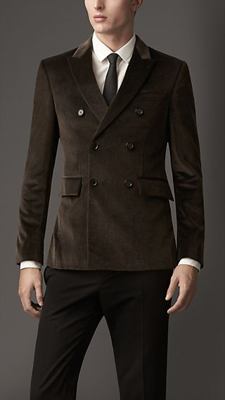 Modern Fit Double-Breasted Velvet Jacket