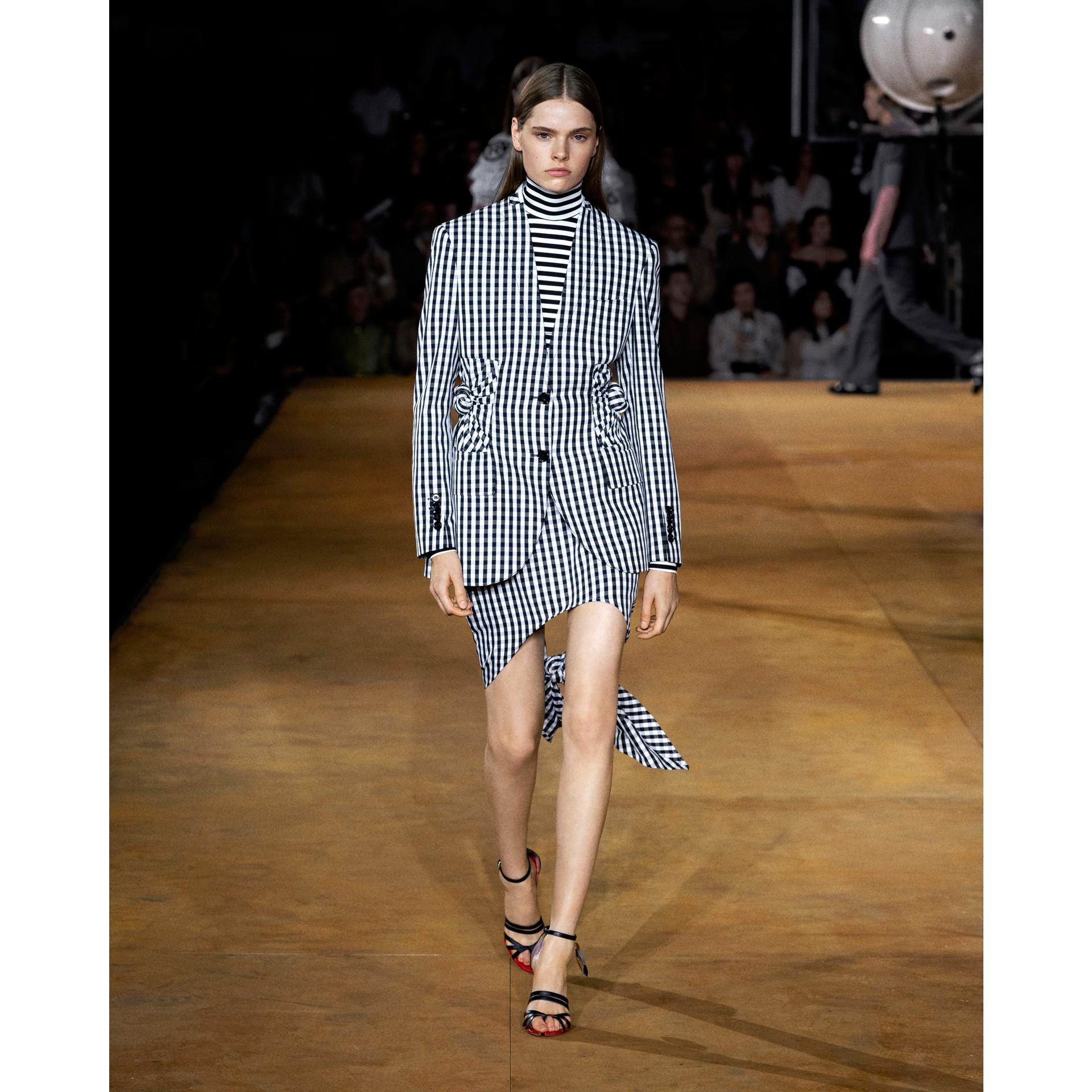 Scarf-tie Detail Gingham Technical Wool Mini Skirt in Black - Women | Burberry - gallery image 6