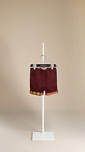Check Cuff Cotton Twill Shorts