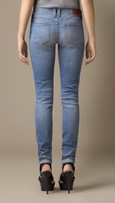 紧身低腰复古水洗牛仔裤