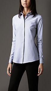 Camicia a righine in cotone stretch