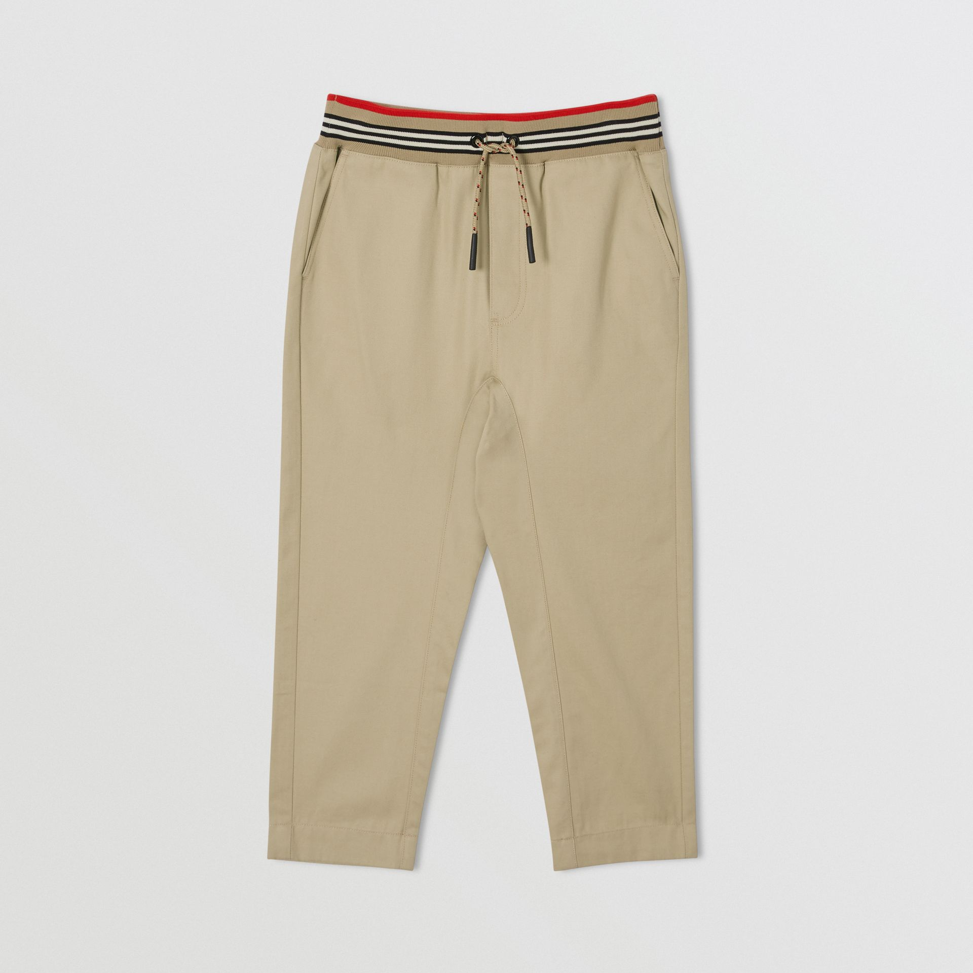Icon Stripe Detail Cotton Twill Drawcord Trousers in Honey   Burberry United Kingdom - gallery image 0