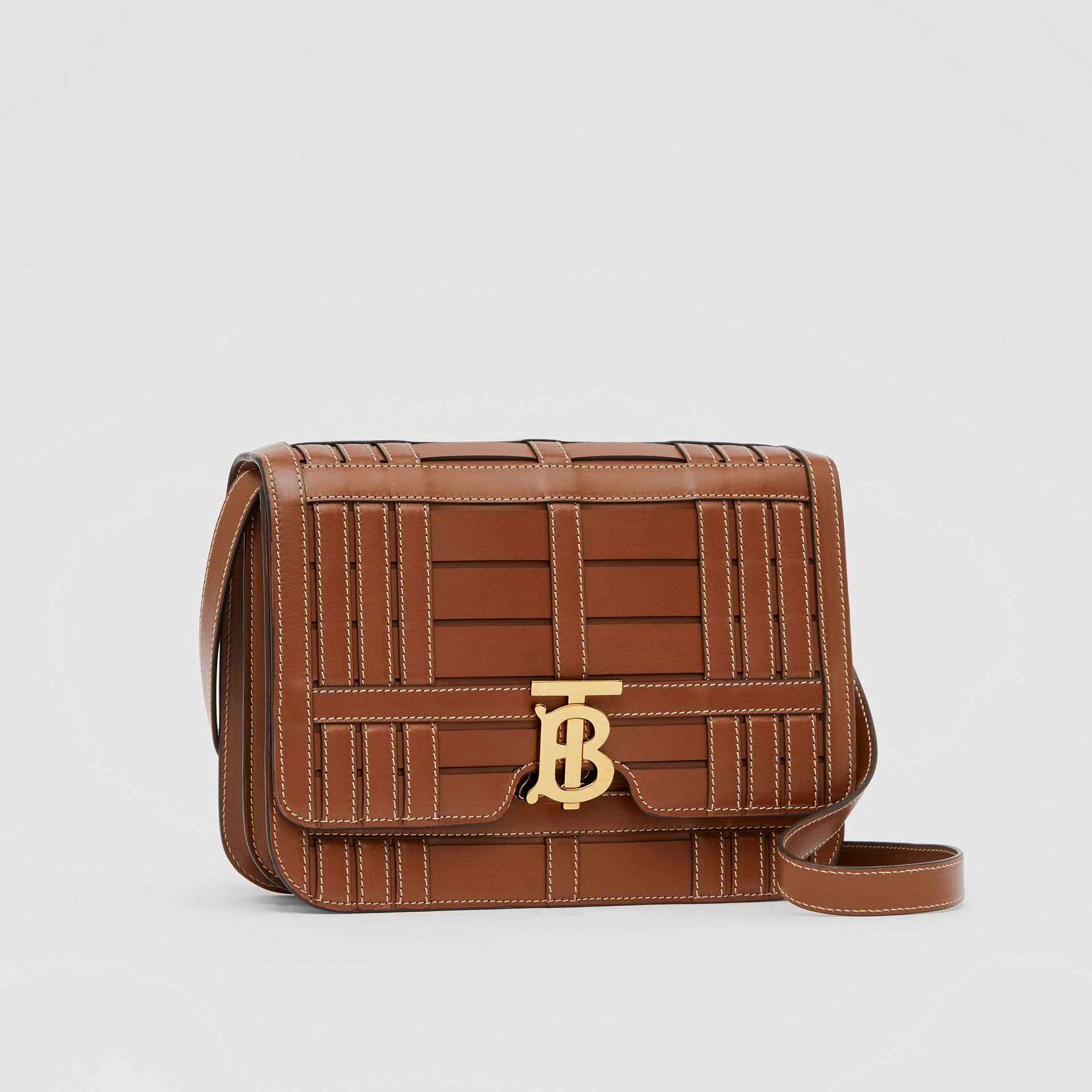 Medium Woven Leather TB Bag in Tan - Women | Burberry - gallery image 6