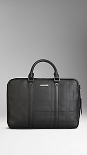 Embossed Check Leather Briefcase