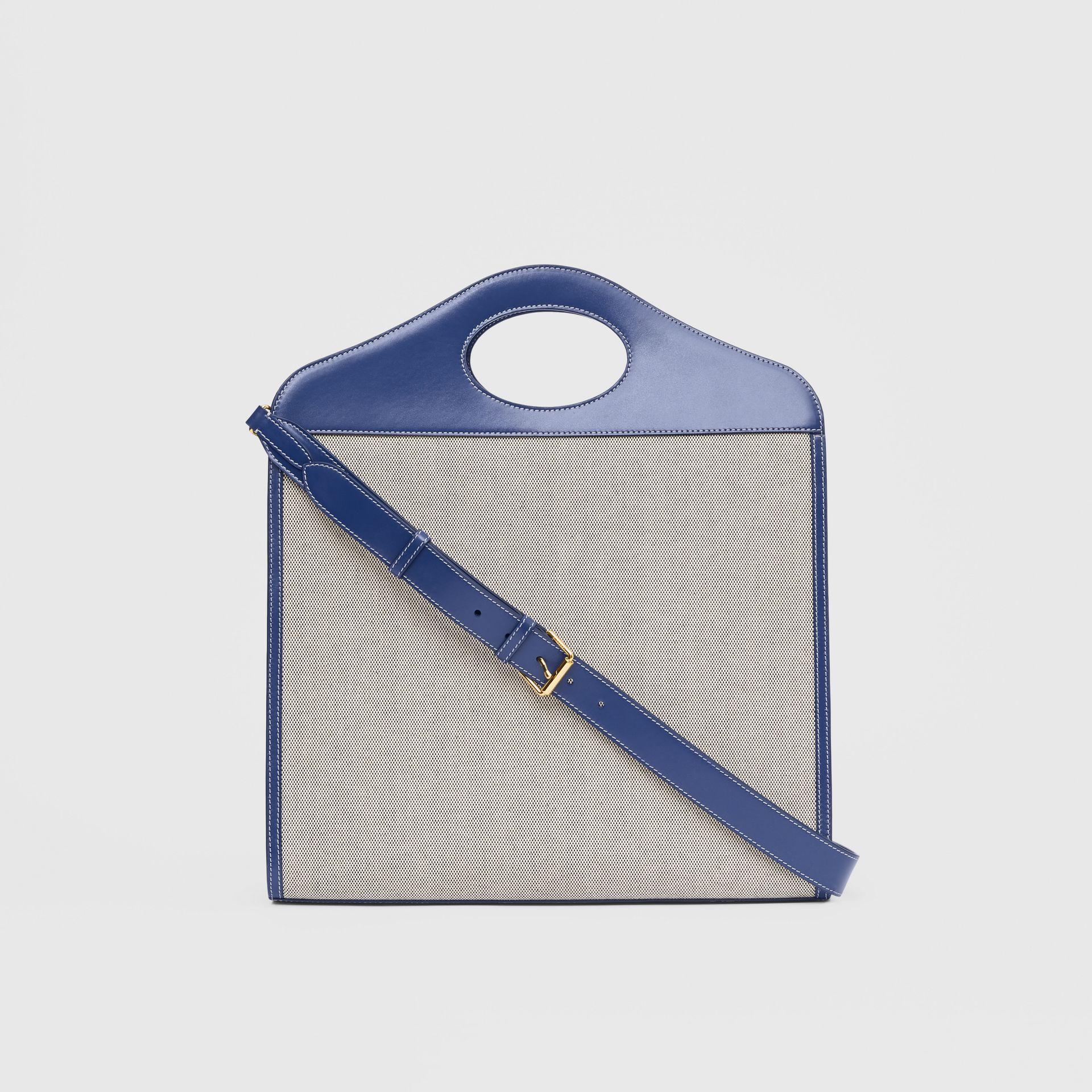 Medium Two-tone Canvas and Leather Pocket Bag in Ink Navy - Women | Burberry - gallery image 7