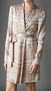 Check Stretch-Silk Dressing Gown