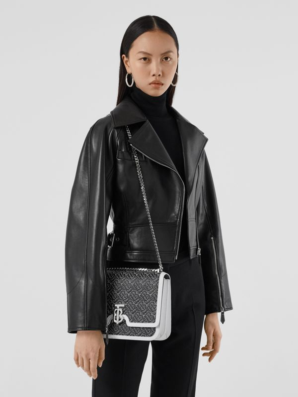 Medium Quilted Monogram Lambskin TB Bag in Black | Burberry - cell image 2