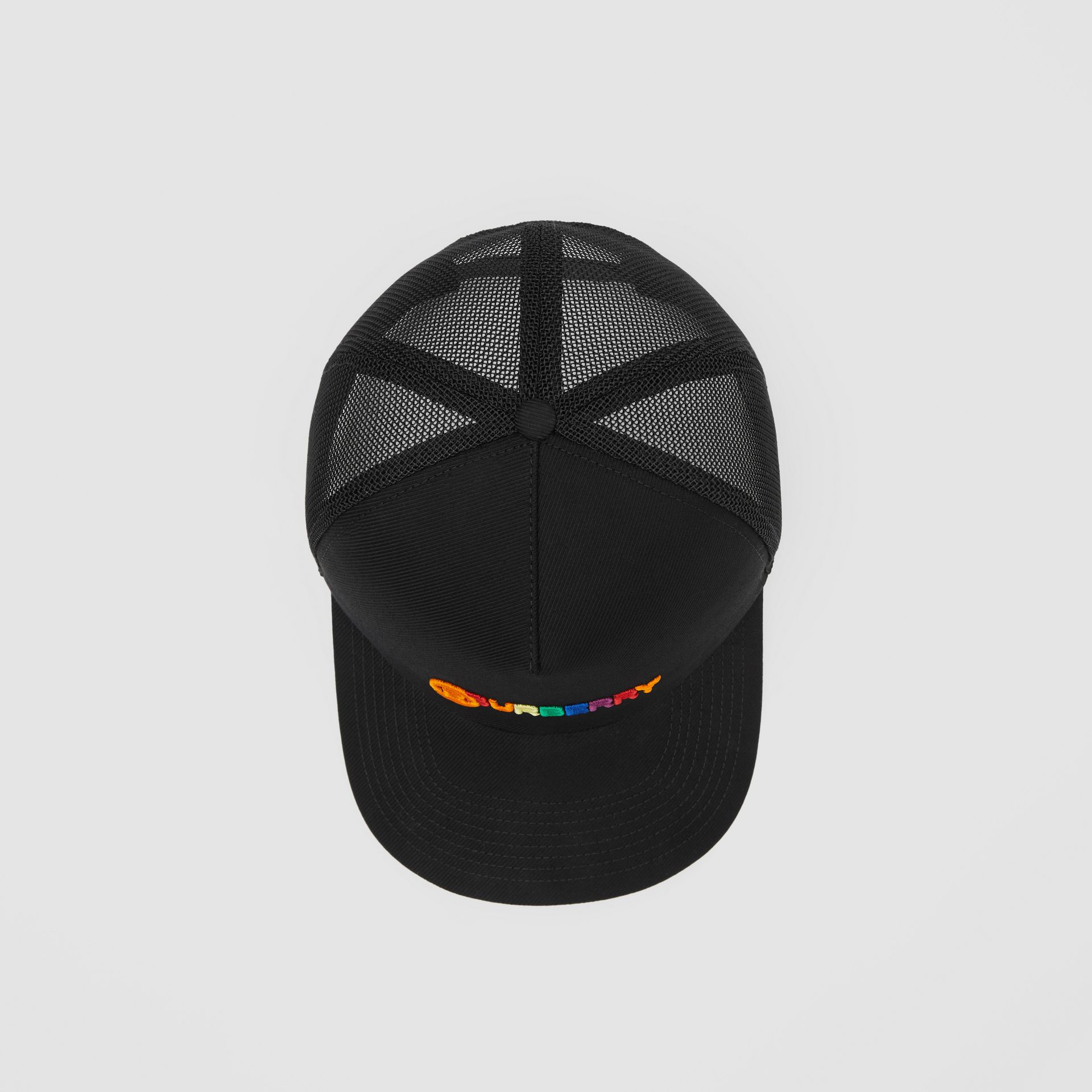 Rainbow Logo Baseball Cap in Black | Burberry United Kingdom - gallery image 3