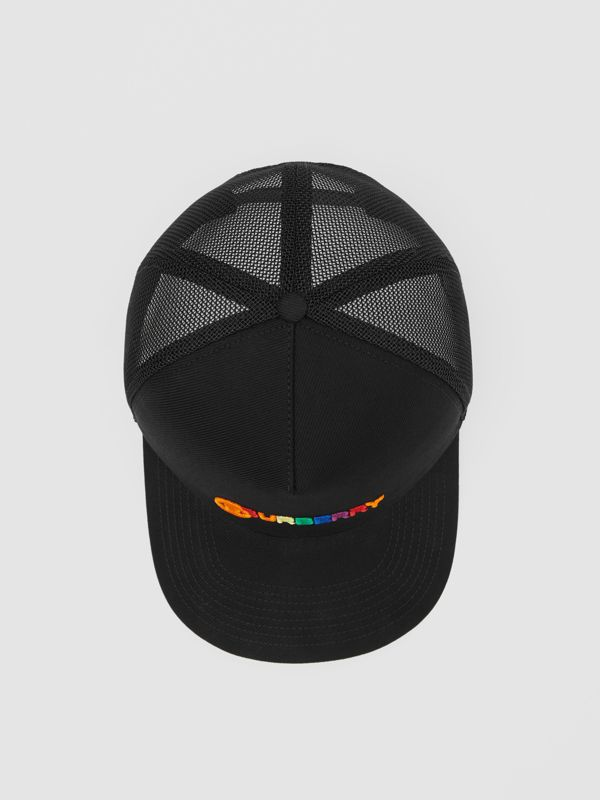 Rainbow Logo Baseball Cap in Black | Burberry United Kingdom - cell image 3