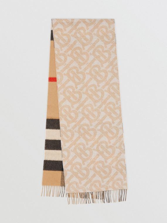 Reversible Check and Monogram Cashmere Scarf in Alabaster