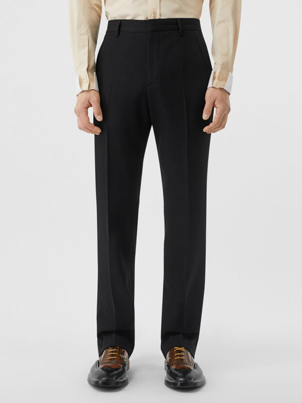 Classic Fit Wool Tailored Trousers in Black - Men | Burberry United Kingdom - cell image 3