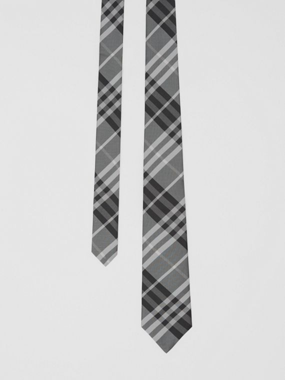 Classic Cut Vintage Check Silk Tie in Mineral Grey