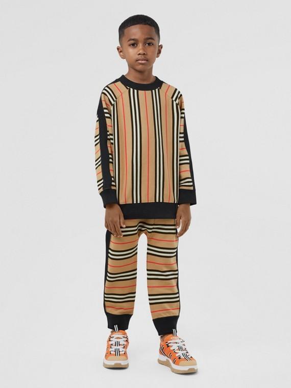 Sudadera en algodón a rayas Icon Stripe (Beige Vintage)