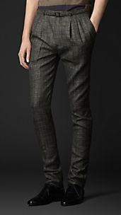 Slim Fit Check Pleat Front Trousers