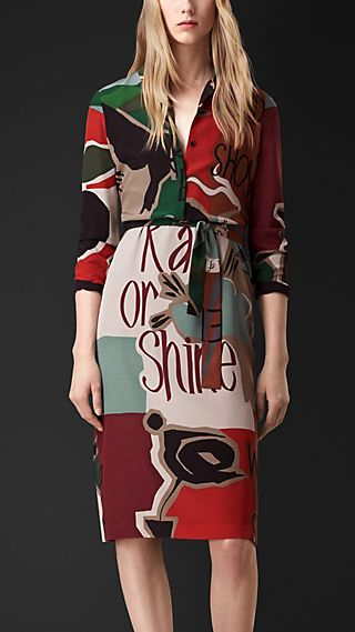 Book Cover Print Silk Shirt Dress