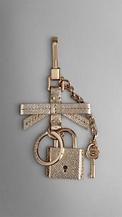 London Leather Padlock Key Charm