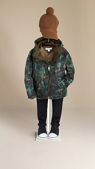Abstract Camouflage Print Reversible Anorak
