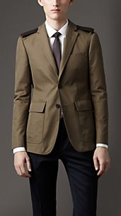 Modern Fit Cotton Gabardine Sports Jacket with Leather Epaulettes